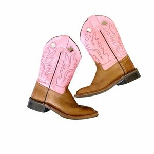 Old West Pink Cowgirl Boot Square Toe Size 15